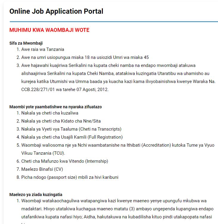 Ajira Za Afya Application System