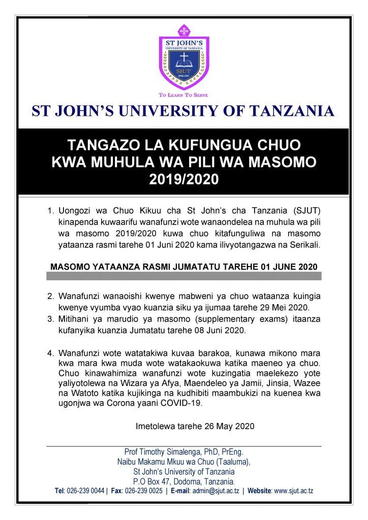 KUFUNGULIWA KWA CHUO MUHULA WA PILI ST. JOHN UNIVERSITY OF TANZANIA SJUT