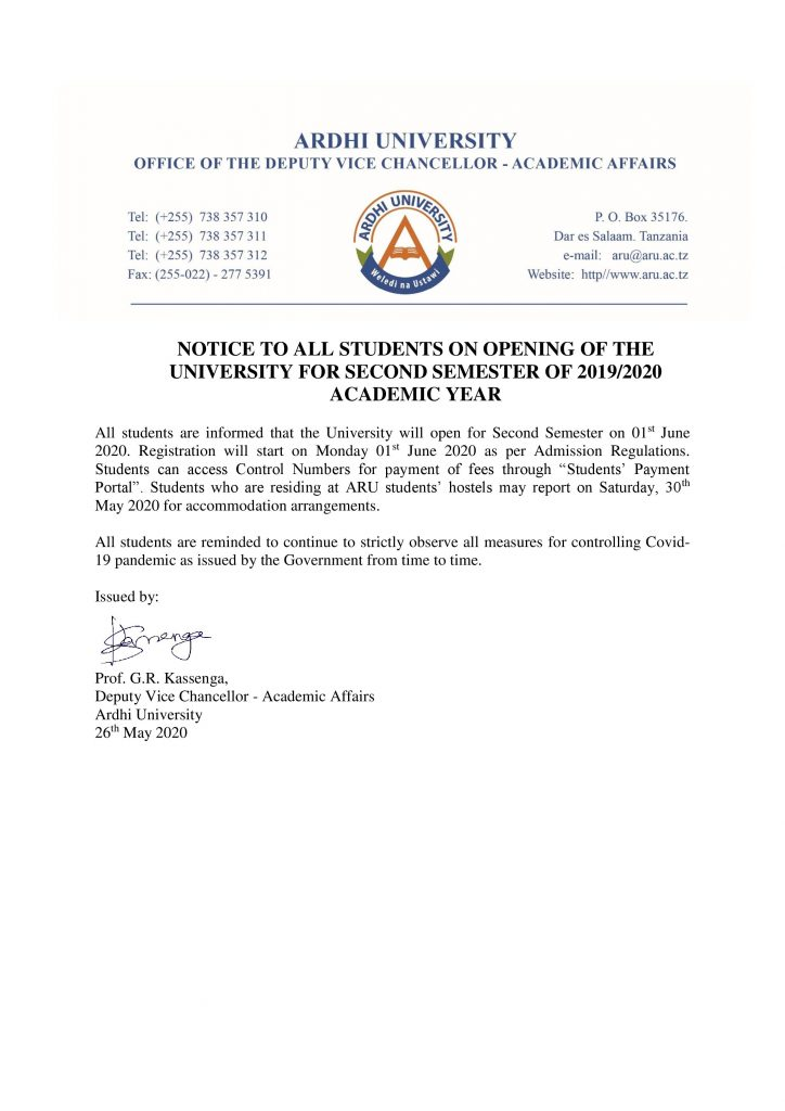 Notice to All Students of The Ardhi University (ARU)