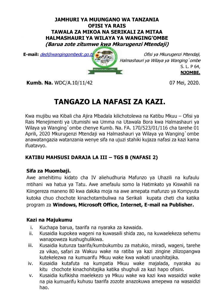 AJIRASASA.COM NAFASI ZA KAZI HALMASHAURI YA WILAYA WANGING'OMBE COM_TANGAZO LA KAZI WA WANGING OMBE-page-001