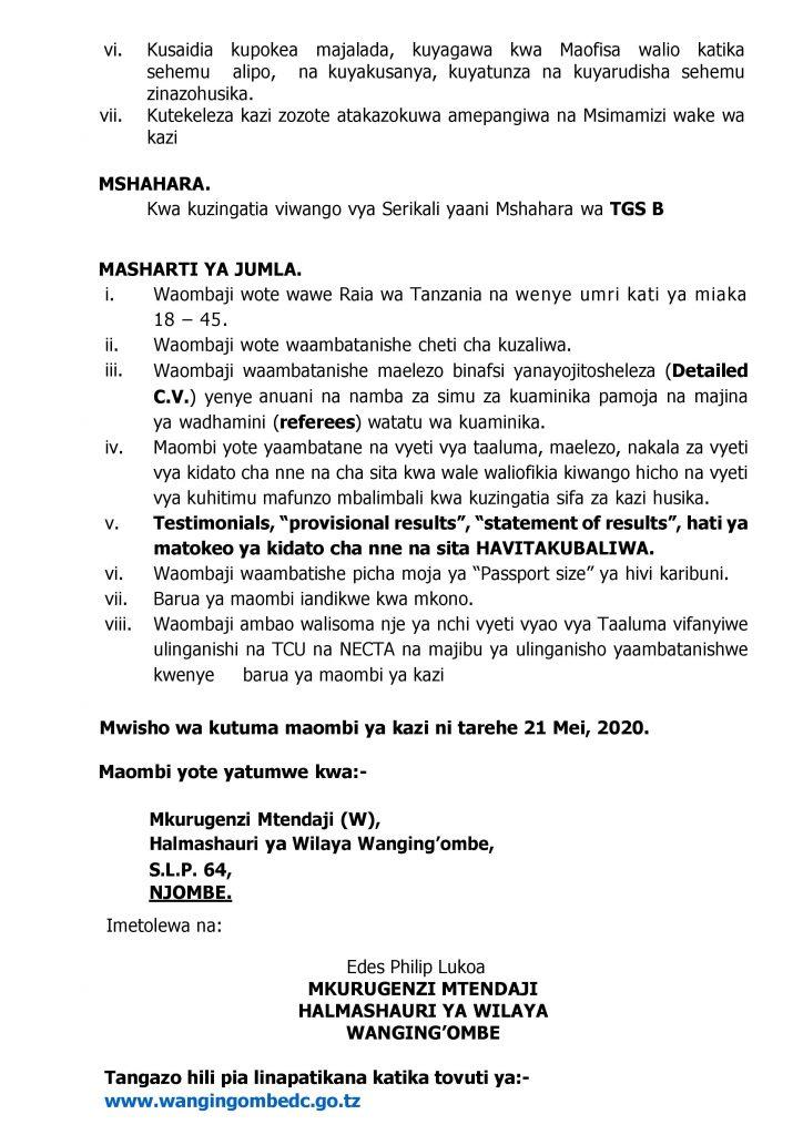 AJIRASASA.COM NAFASI ZA KAZI HALMASHAURI YA WILAYA WANGING'OMBE COM_TANGAZO LA KAZI WA WANGING OMBE PAGE 2