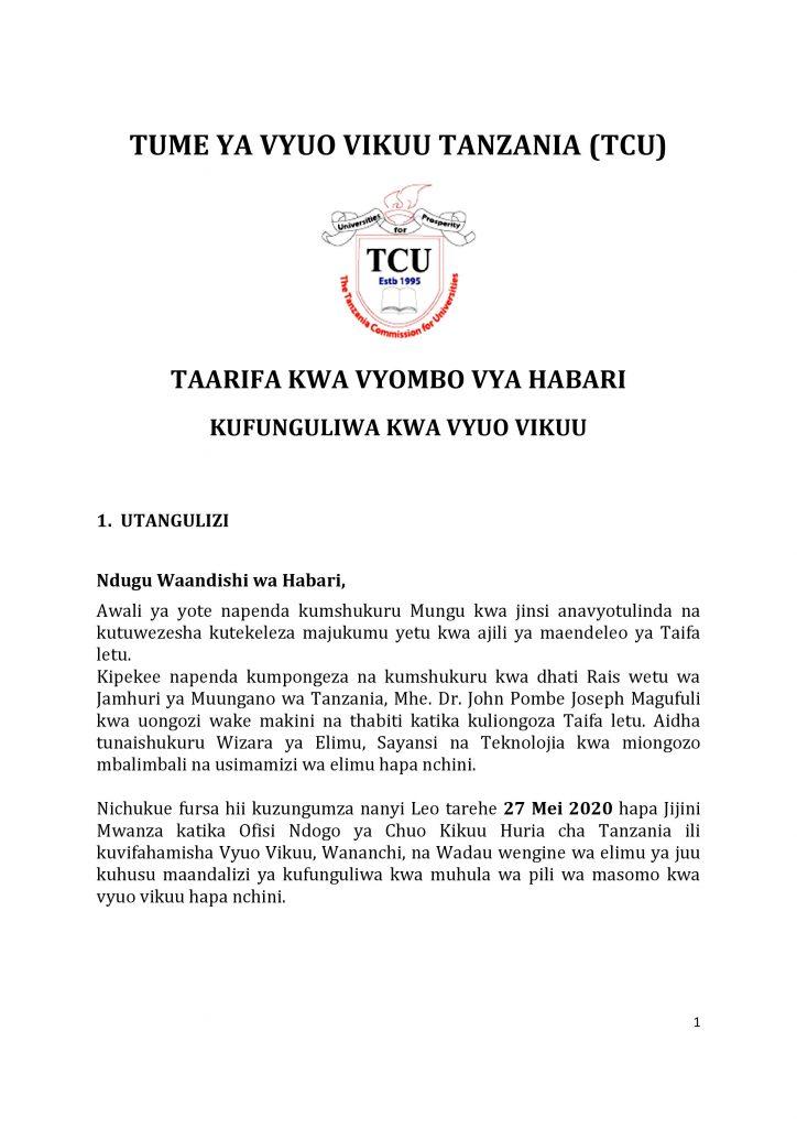 AJIRASASA.COM_TCU TAARIFA KWA VYOMBO VYA HABARI