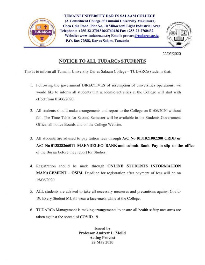KUFUNGULIWA KWA CHUO MUHULA WA PILI Tumaini University Dar es Salaam College (TUDARCo)