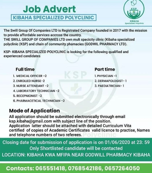 Jobs Opportunities at Kibaha Specialized Polyclinic (KSP)