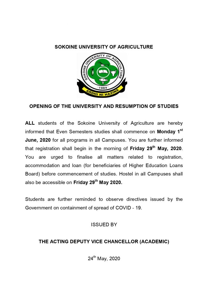 OPENING OF THE UNIVERSITY AND RESUMPTION OF STUDIES