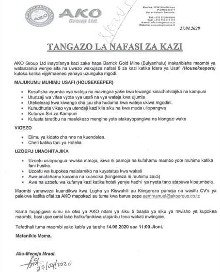 NAFASI ZA KAZI AKO Group Ltd AT AJIRASASA