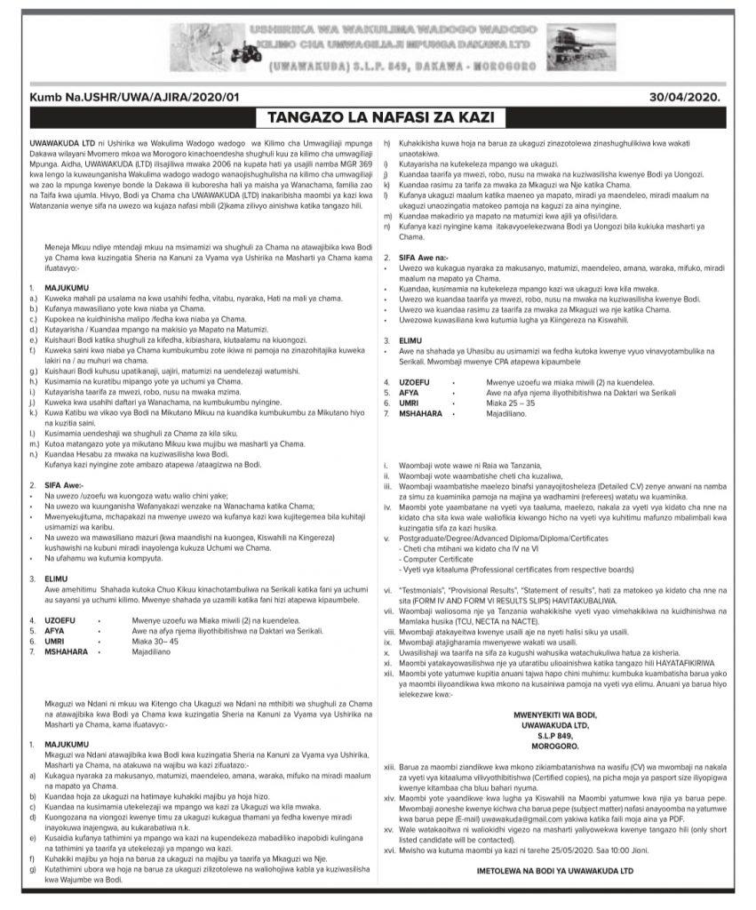 2 Job Opportunities at UWAWAKUDA Limited Morogoro AJIRASASA