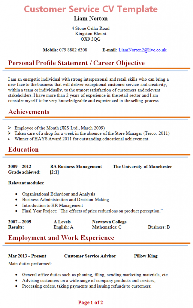 Customer Service CV Template + Tips and Download