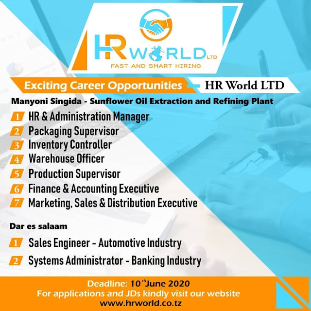 9 Job Opportunities at HR World Limited