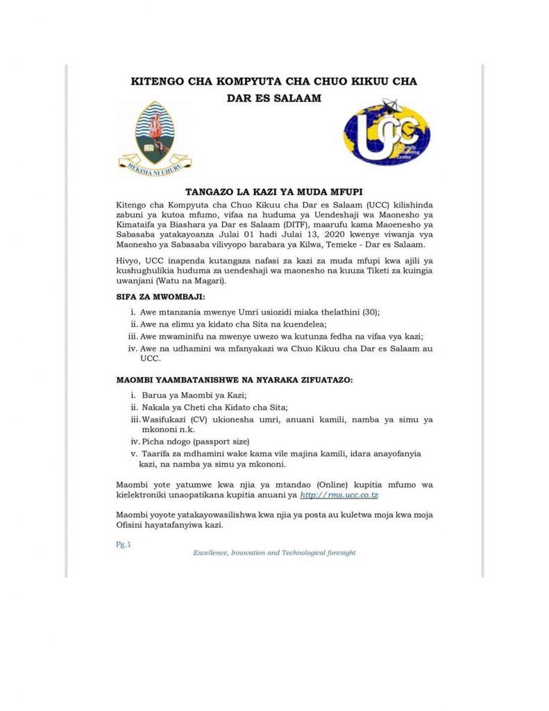 Jobs at University of Dar es Salaam Computing Centre