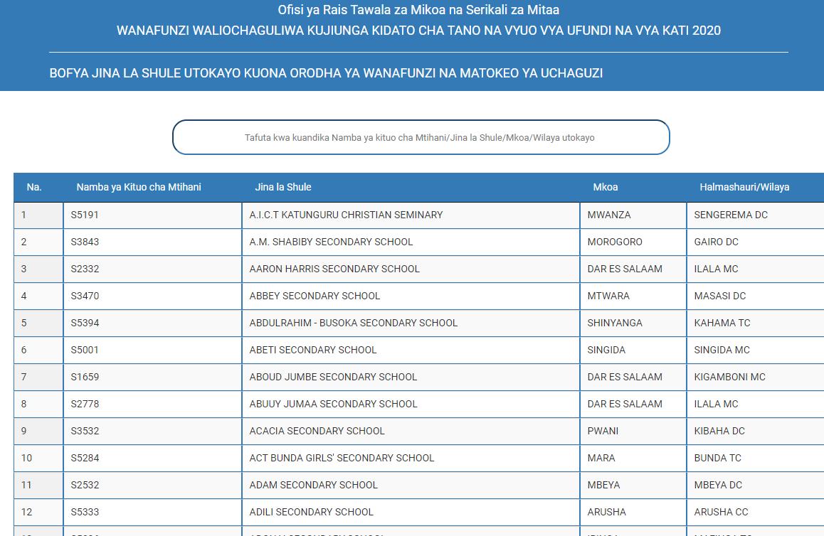 Form Five Selection 202021 WALIOCHAGULIWA KUJIUNGA KIDATO CHA TANO 2020 PDF