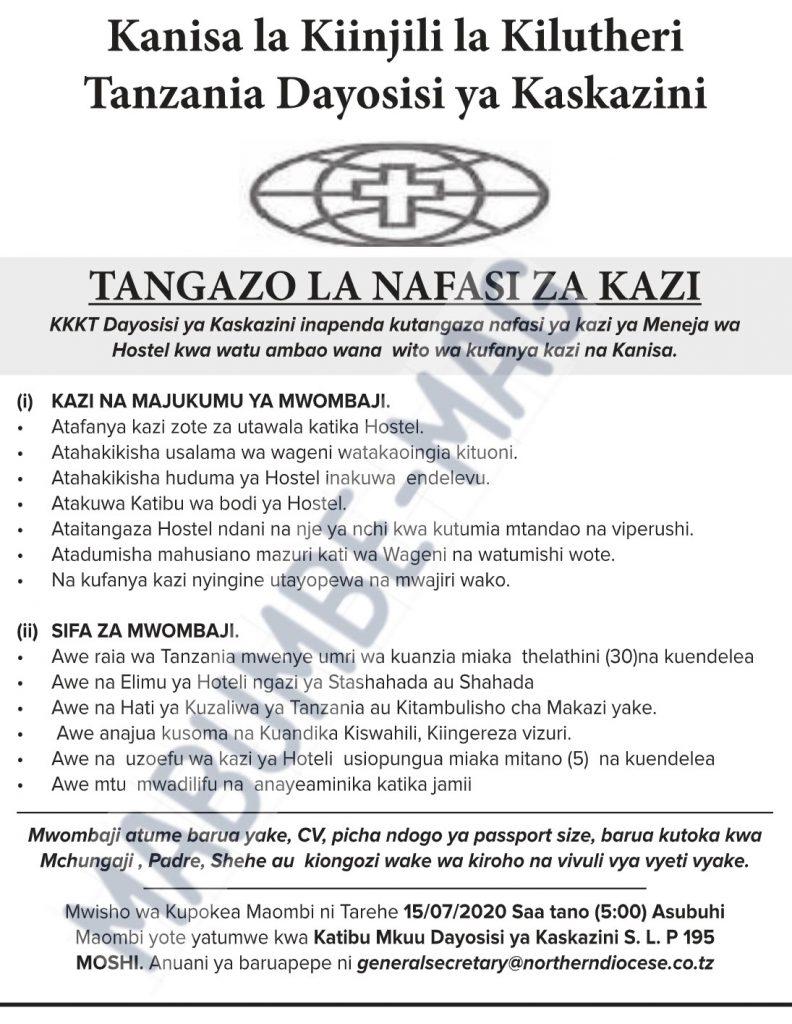 Hostel Manager at kkkt Northern Diocese nafasi za kazi KKT