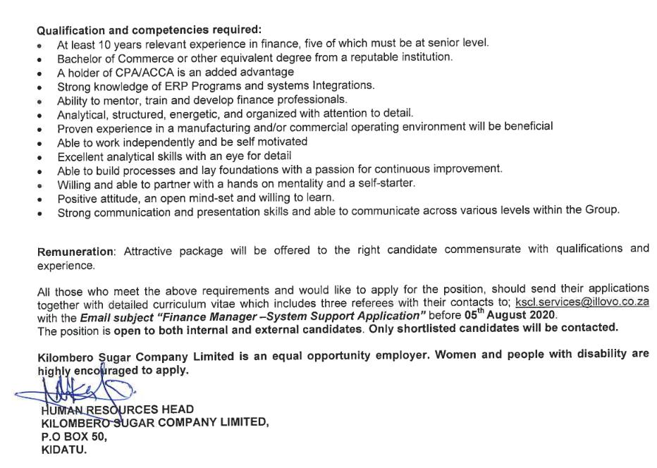 Job Opportunity at Kilombero Sugar Company Limited (KSC)