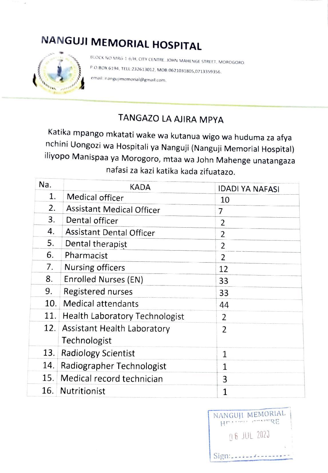 nafasi za kazi Hospitali ya Nanguji (Nanguji Memorial Hospital) iliyopo Manispaa ya Morogoro