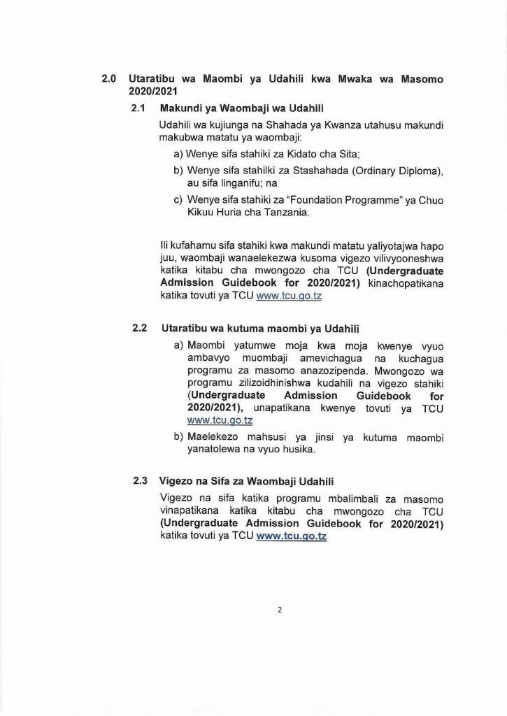 TCU Open Admission Window for Academic Year 2020/2021 AJIRASASA