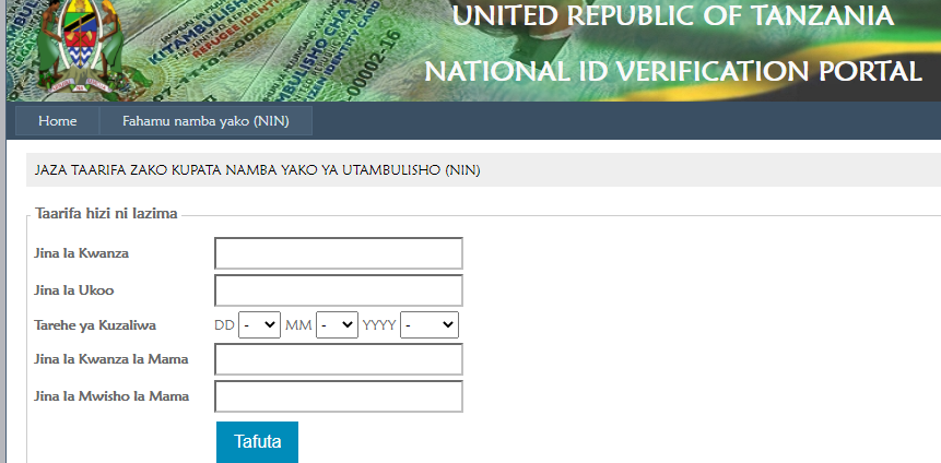 Kupata Namba ya Kitambulisho cha Taifa (NIN) - NIDA National Identification Authority (NIDA)