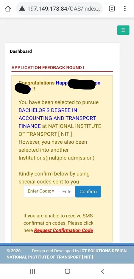 National Institute of Transport (NIT) Selection 202021