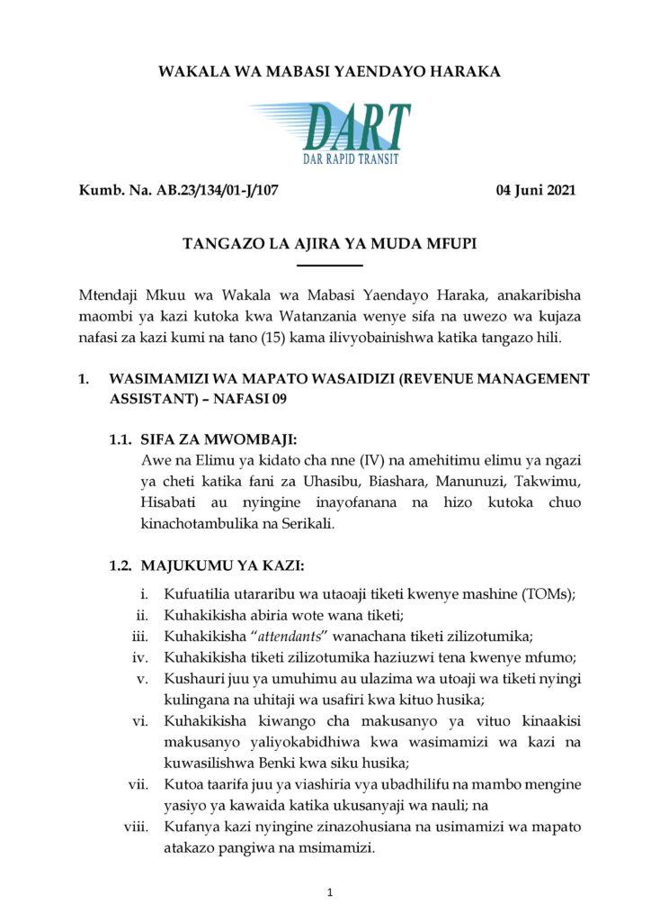 15 Jobs MWENDOKASI at Dar es Salaam Bus Rapid Transit (DART)