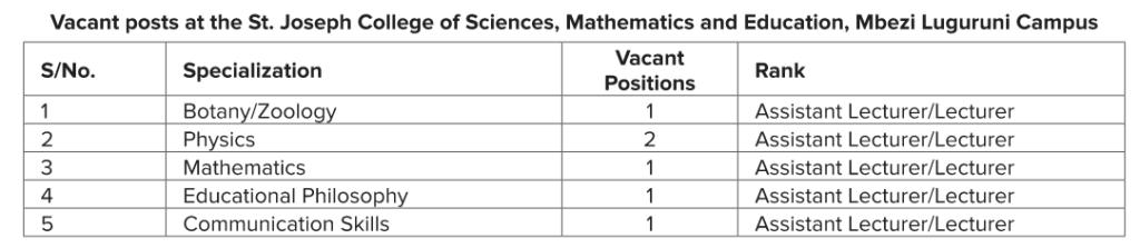6 Jobs at the St. Joseph College Mbezi Luguruni Campus