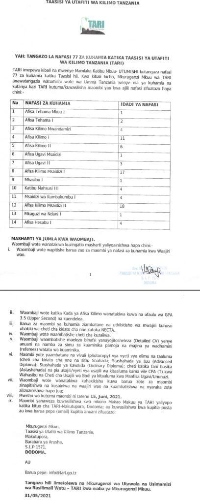 77 Transfer Jobs at Tanzania Agricultural Research Institute (TARI)