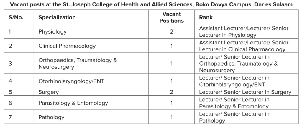 9 Jobs at the St. Joseph College of Health and Allied Sciences Boko Dovya Campus Dar es Salaam