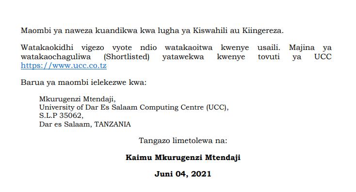 Temporary Jobs at University of Dar es Salaam Computing Centre (UCC)