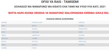 Form five second selection 2021 Waliochaguliwa Kidato Cha Tano awamu ya pili 2021