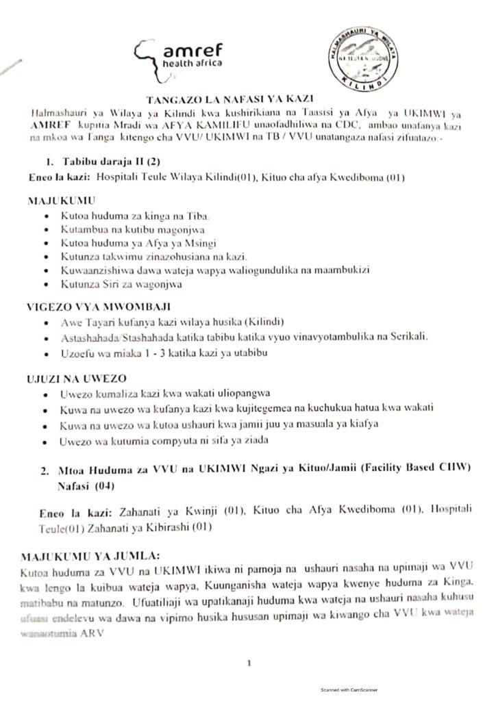 Nafasi za kazi halmashauri ya wilaya ya kilindi na AMREF