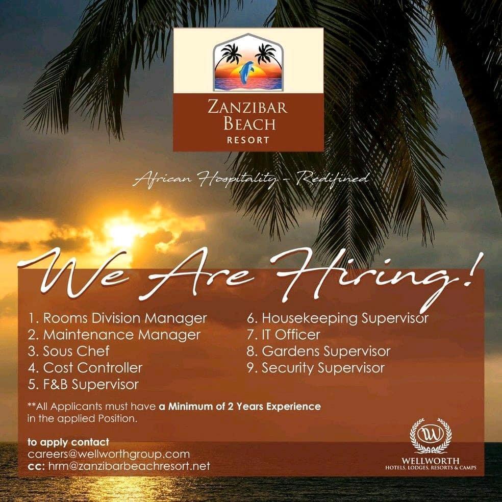 New Job Opportunities at Zanzibar Beach Resort